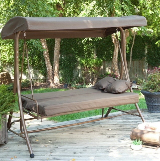 Outdoor Porch Swing With Canopy