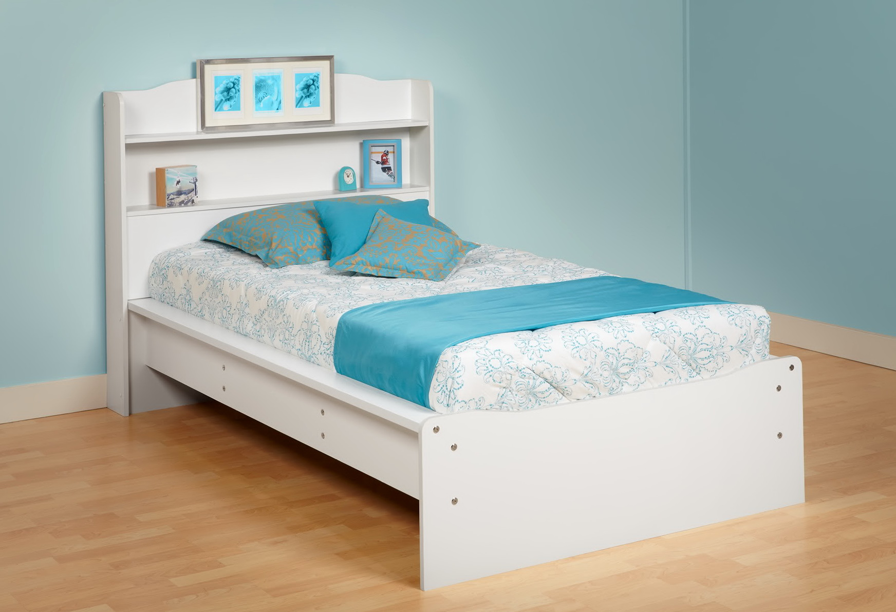 Platform Bed With Bookcase Headboard