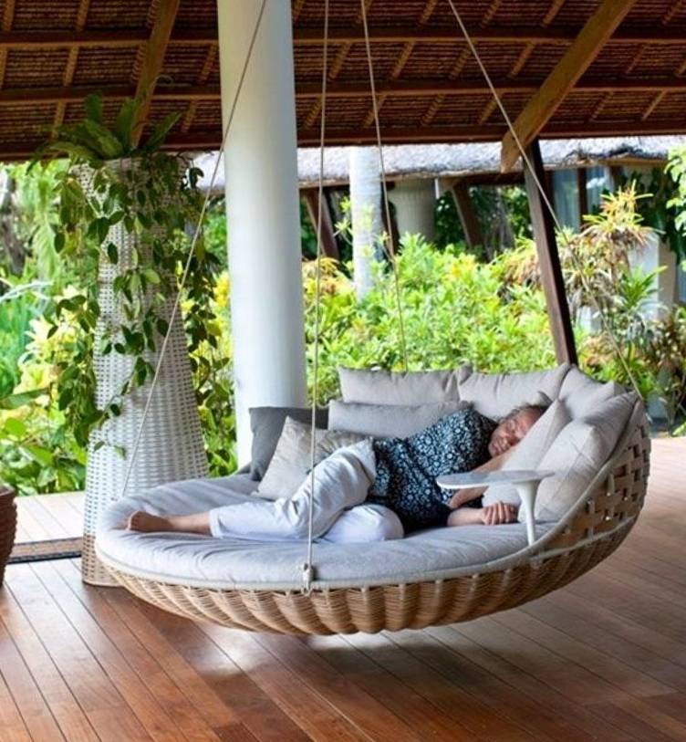 Porch bed swing round home design ideas for Hanging circle bed