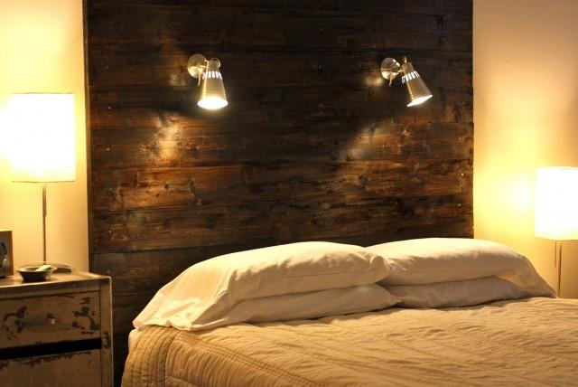 Rustic Wood Headboard With Lights