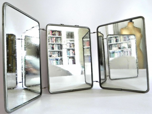 Antique Tri Fold Vanity Mirror