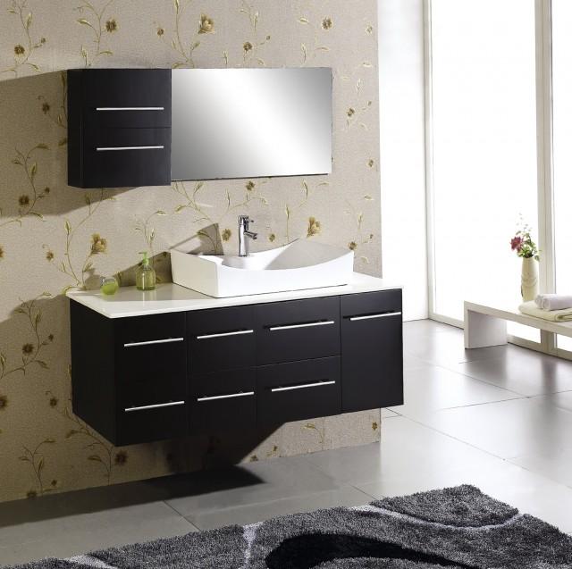 Black Bathroom Vanity With White Top