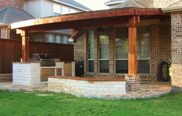 Brick And Wood Porch Columns
