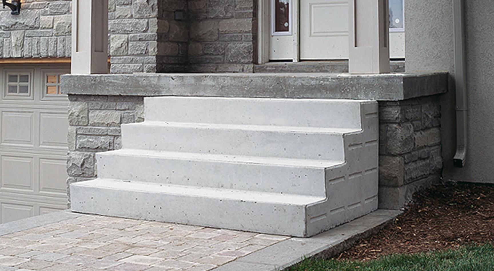 Precast porch steps concrete porch steps cost home design for How to make cement at home
