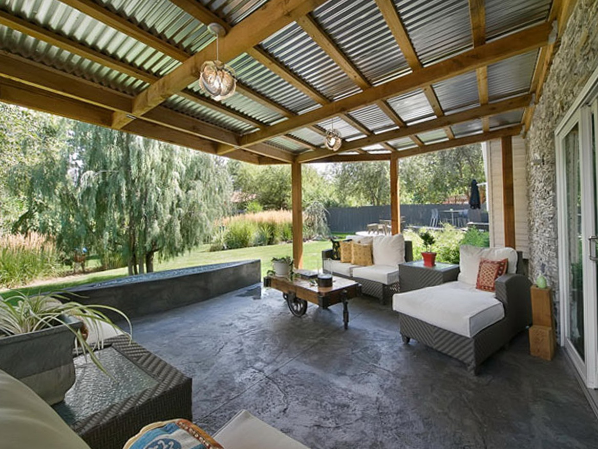 Corrugated metal porch roof home design ideas for Porch roof ideas