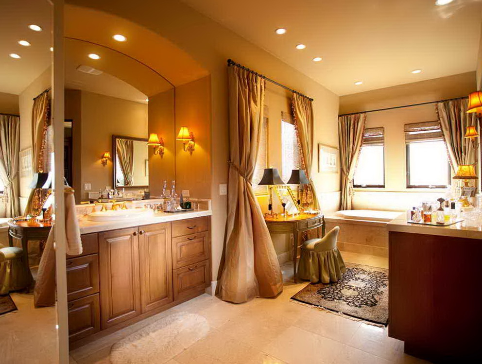 Double Sink Bathroom Vanity With Dressing Table