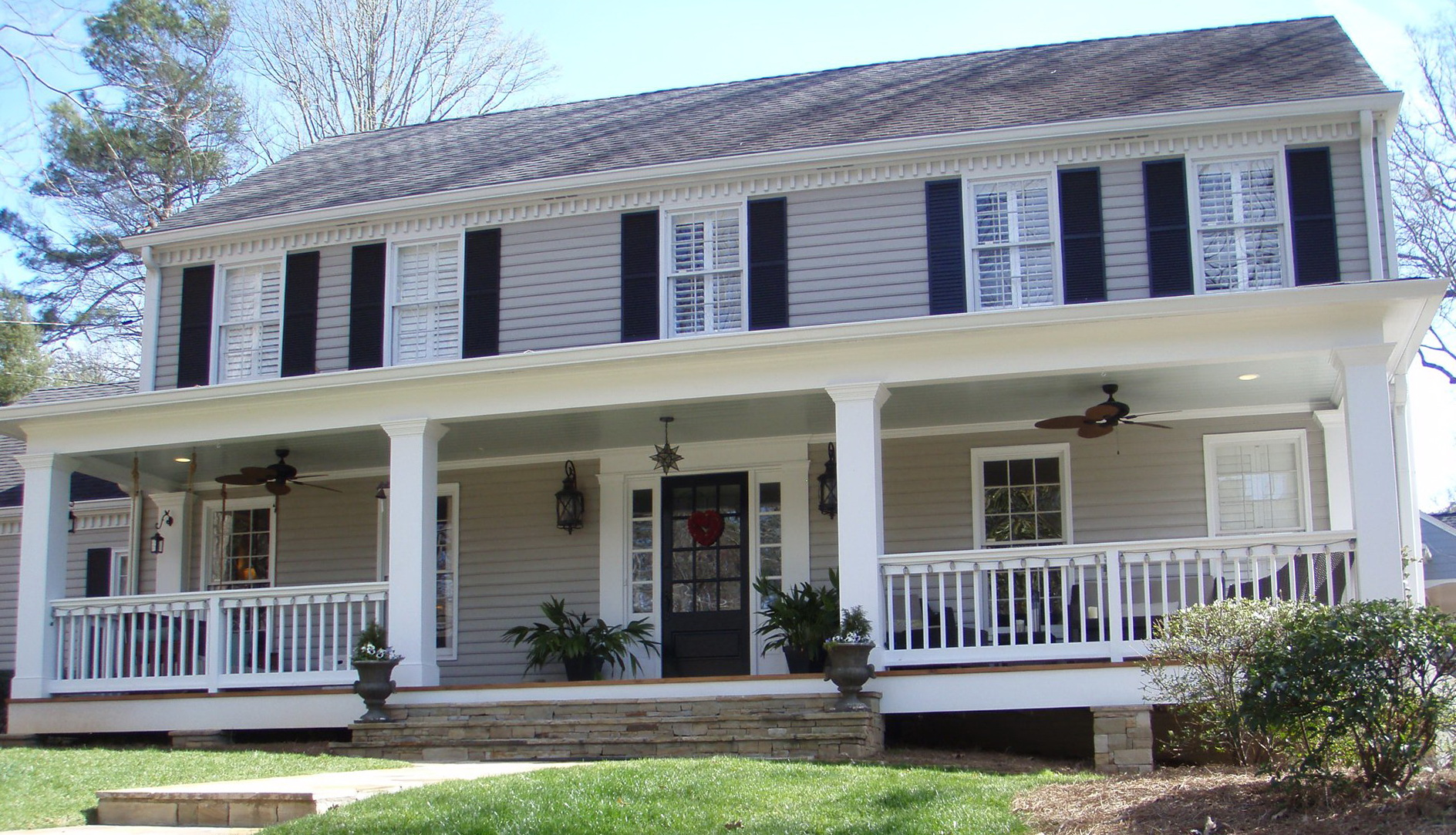 Front porch addition colonial home design ideas for Colonial home additions