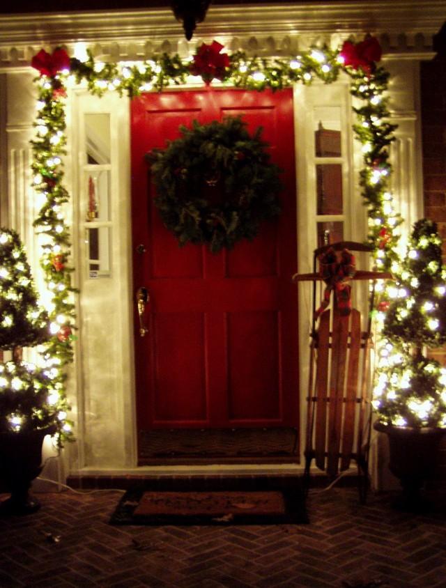 Front Porch Columns Christmas Decoration A Front Porch
