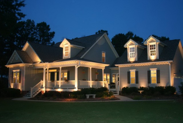House With Porch Light On