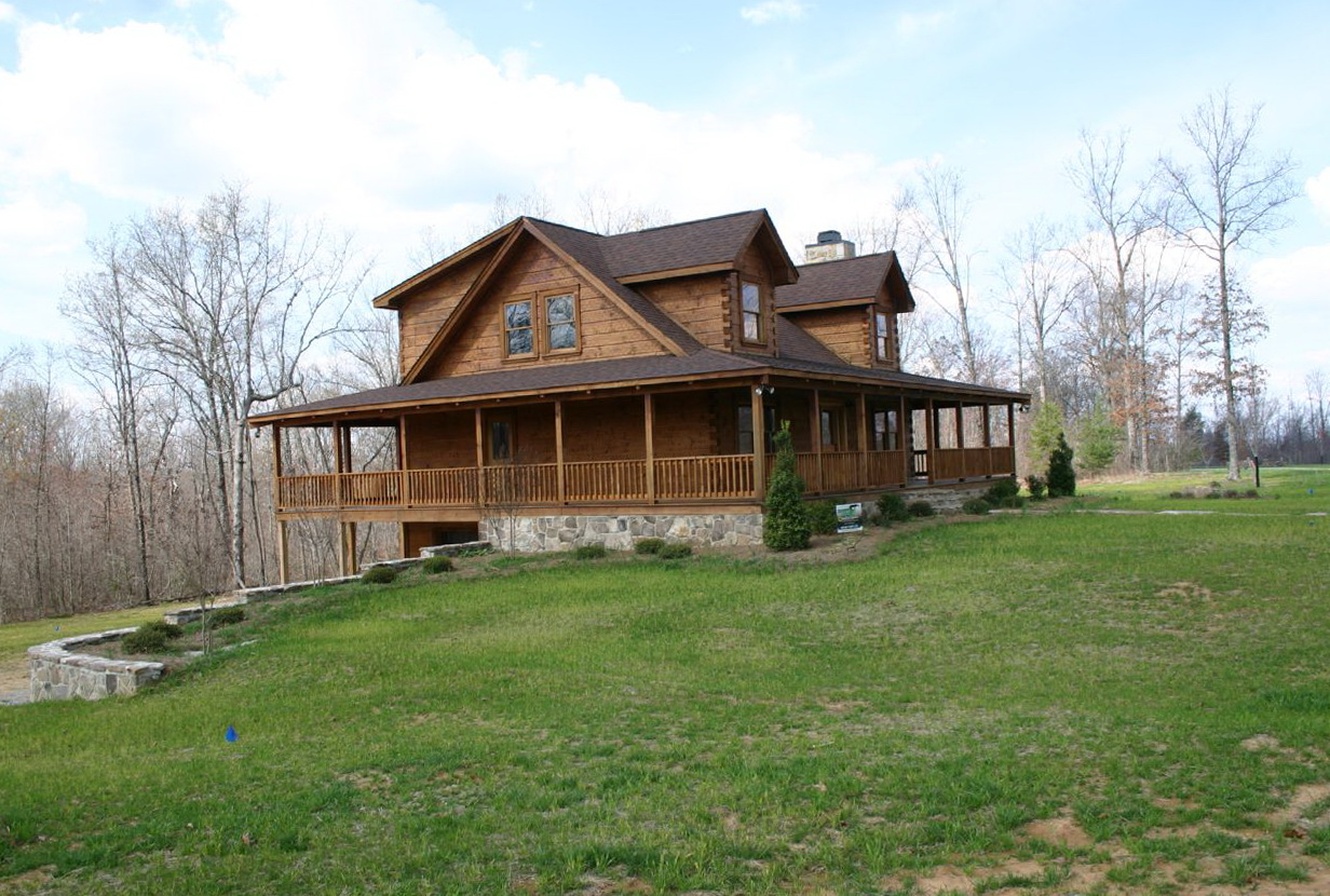 Log homes with wrap around porches home design ideas for Full wrap around porch log homes
