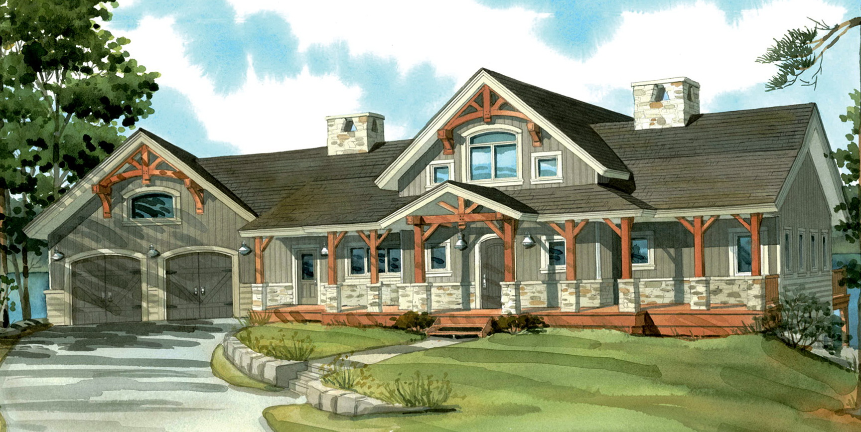 One Story House Plans With Porch And Basement Home