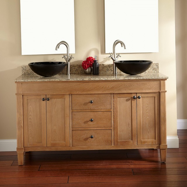 Double bathroom vanity with vessel sinks home design ideas for Rustic bathroom vanities lowes