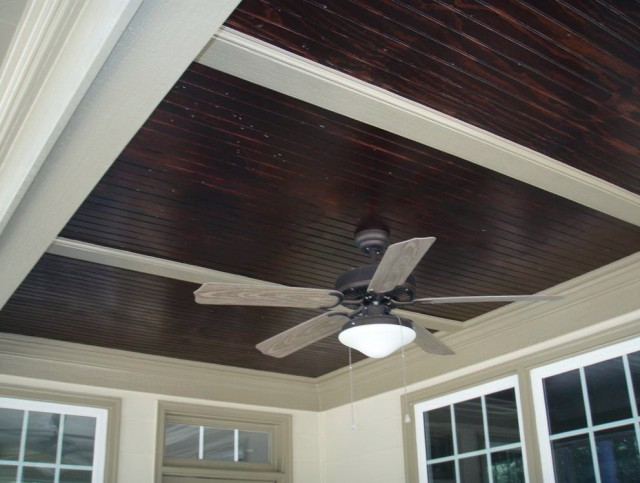 Stained Beadboard Porch Ceiling