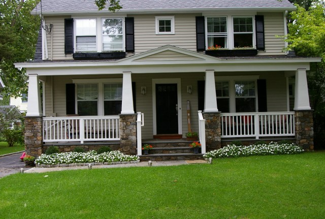 Front Porch Posts With Stone Base : Stone columns on front porch home design ideas
