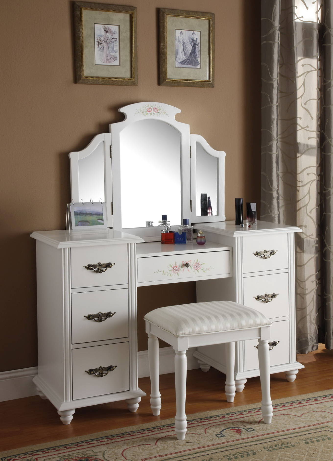 Vanity Table With Mirror And Drawers Home Design Ideas