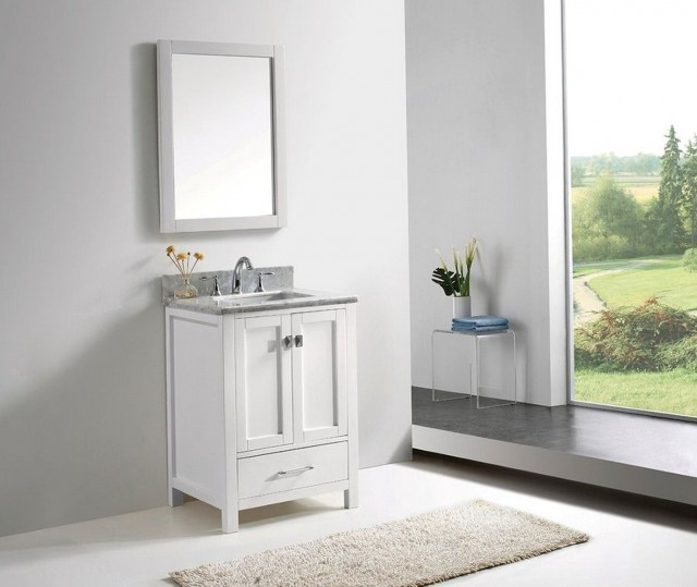 White Bathroom Vanity With Carrera Marble Top
