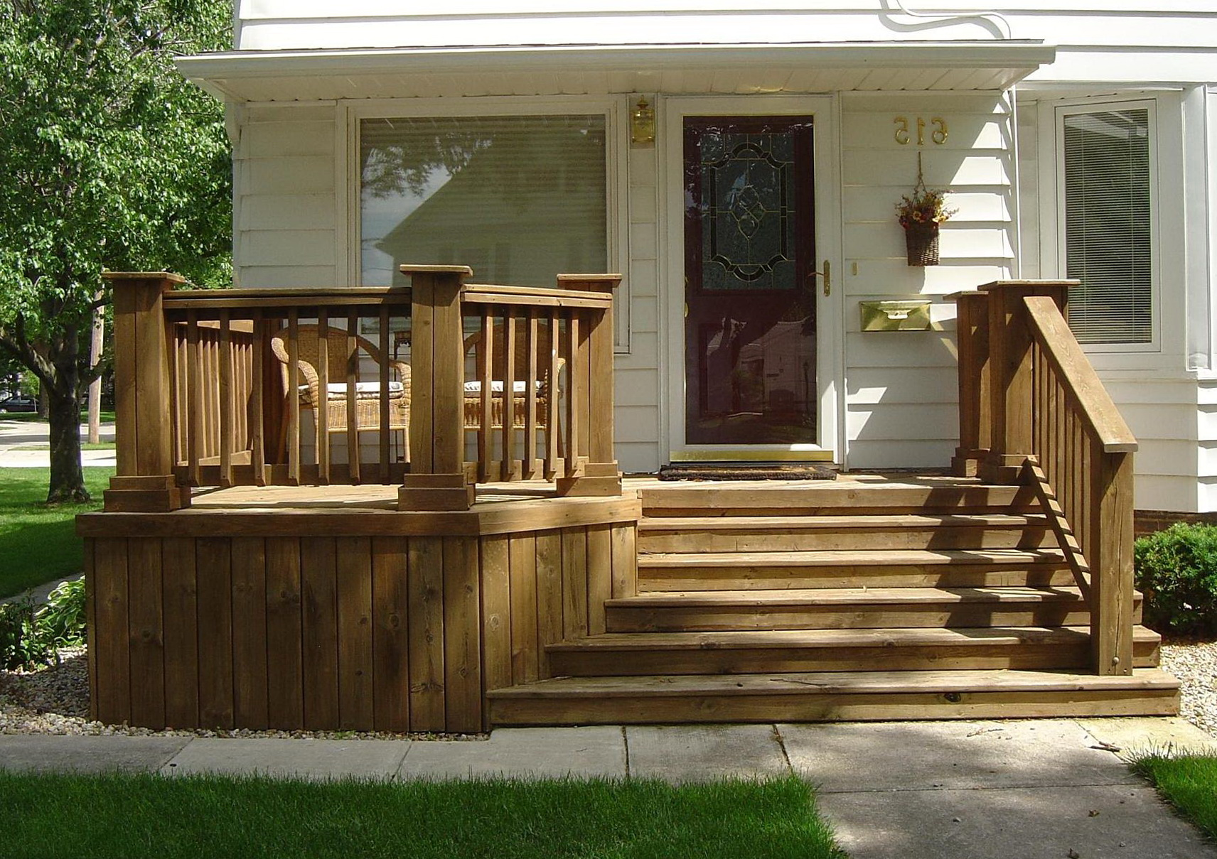 Wood front porch steps home design ideas for Small house deck designs