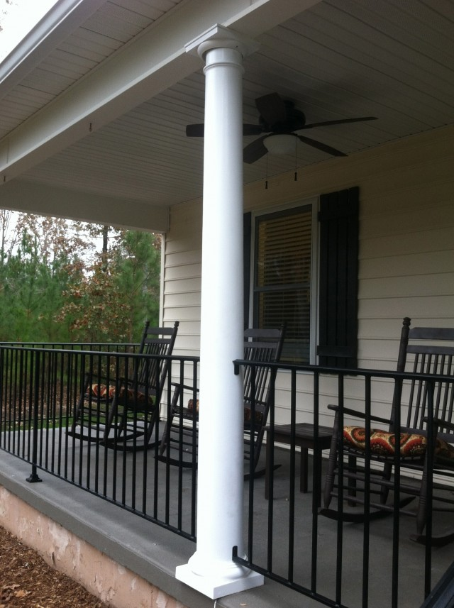 Replacing wrought iron porch columns home design ideas for Lowes exterior wrought iron railings