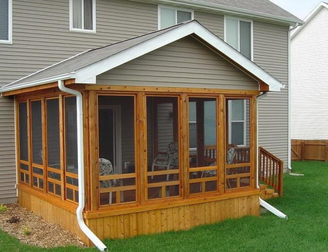 Building a porch roof on a mobile home home design ideas for Modular screen porch