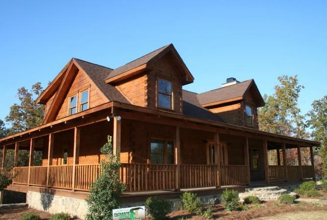 Log cabin floor plans with wrap around porch home design for Log cabin house plans with wrap around porches