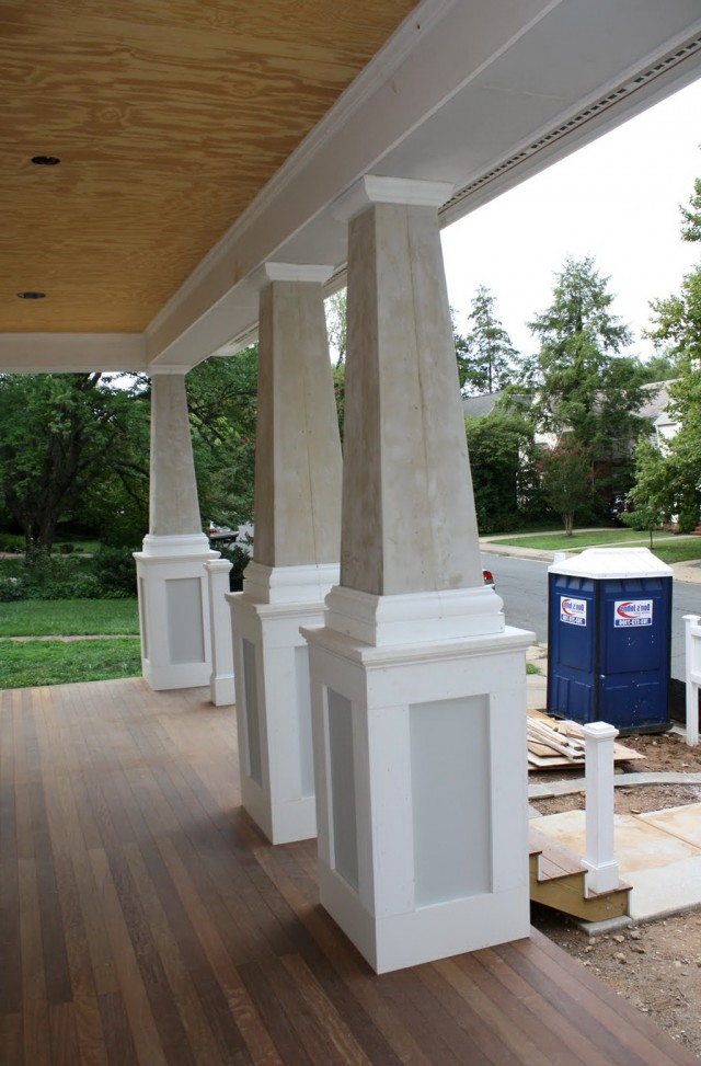 Rustic front porch columns home design ideas for Rustic porch columns