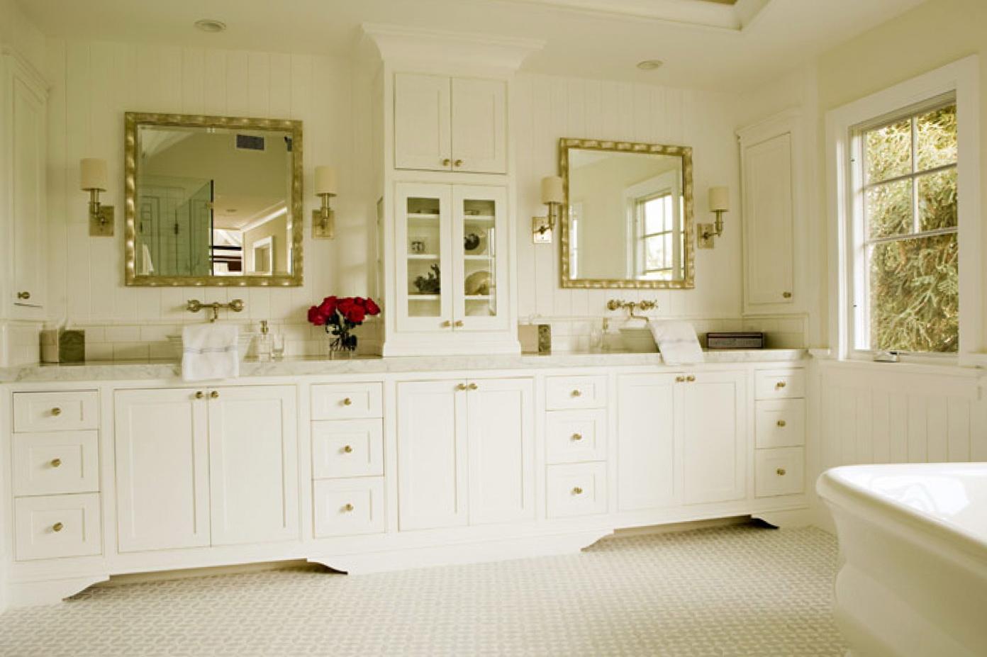 Double Bathroom Vanity With Hutch | Home Design Ideas