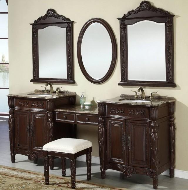 Double Bathroom Vanity With Makeup Area