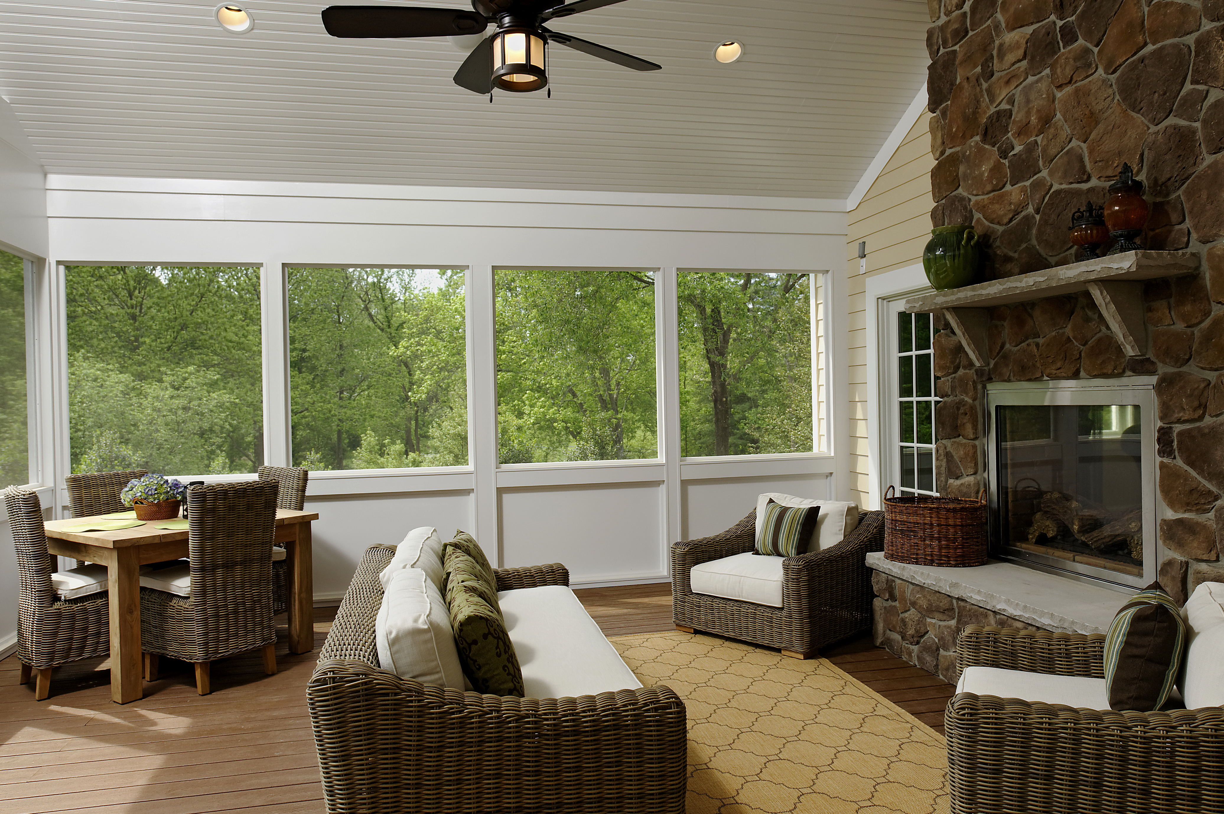 Houzz Screened Porch With Fireplace