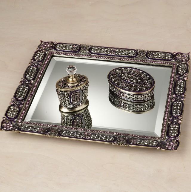 Jeweled Mirror Vanity Tray