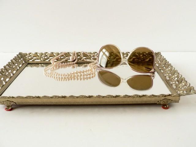 Mirrored Vanity Tray Set