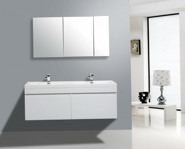 Modern White Double Vanity