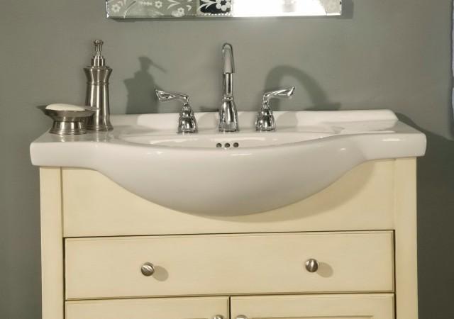 Narrow Depth Bathroom Vanity White