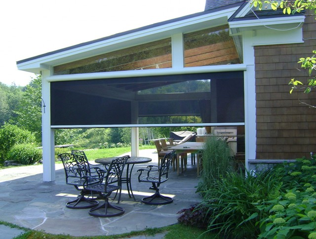 Motorized patio shades cost retractable screen porch cost for Retractable outdoor screens