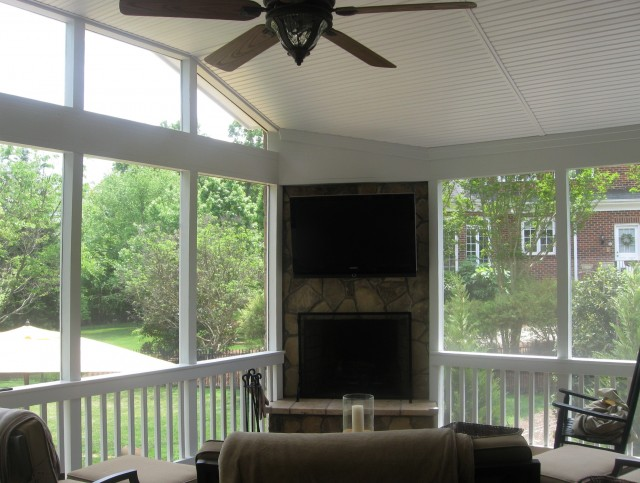 Screened In Porch With Fireplace Cost