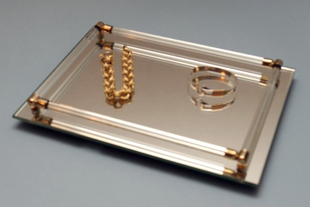 Silver Mirrored Vanity Tray