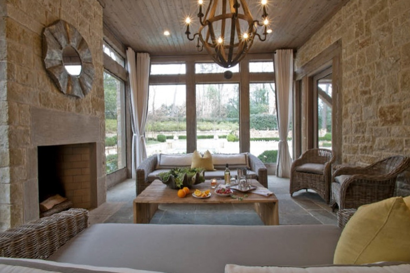 Small Screened In Porch With Fireplace