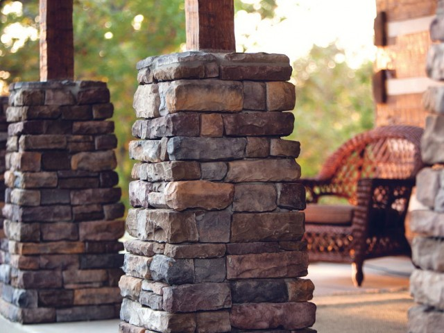 Stone Veneer Columns : Stone columns on front porch home design ideas
