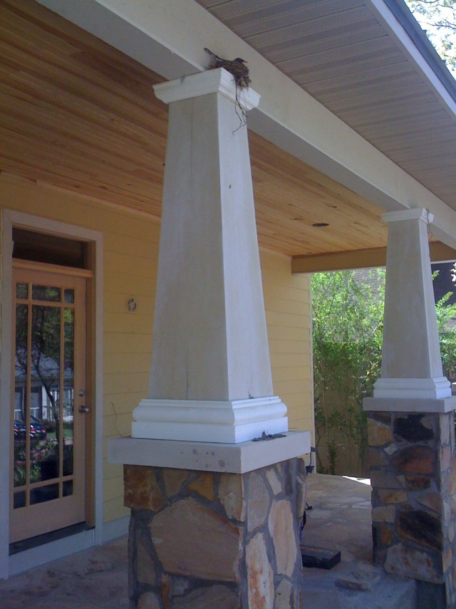 Porch with tapered square columns home design ideas for Tapered porch columns