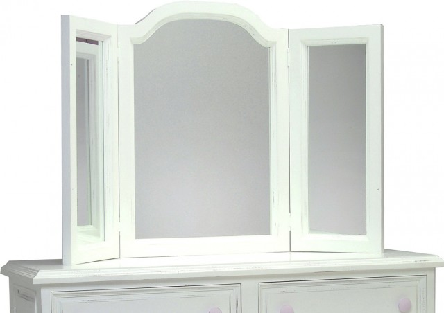 White Bedroom Vanity With Tri Fold Mirror