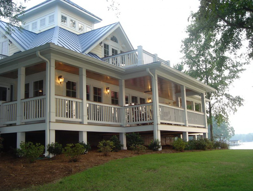 Wrap around front porch house plans home design ideas for Cabin plans with wrap around porch