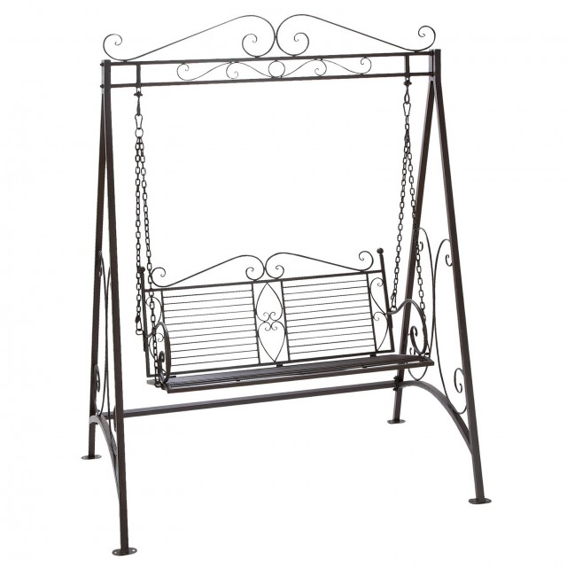 Wrought Iron Porch Swing With Stand