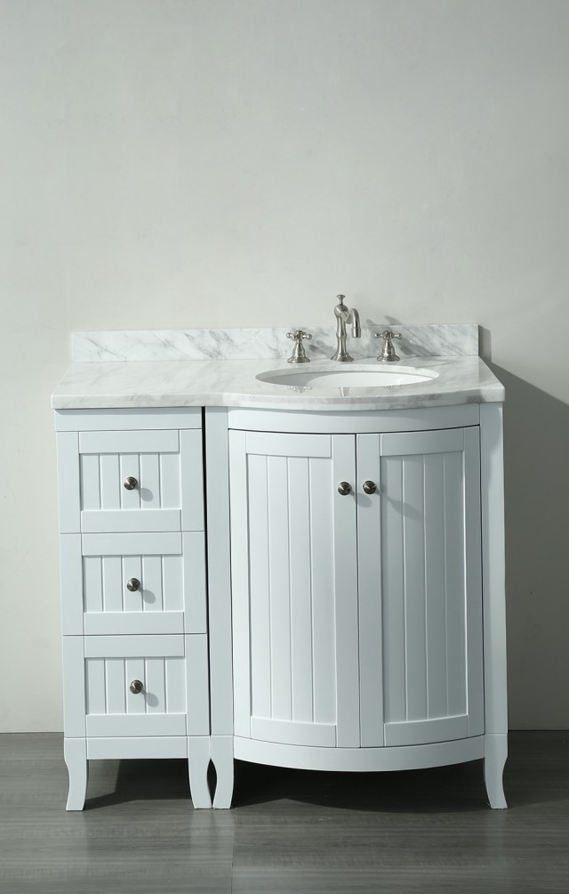 36 White Bathroom Vanity With Carrera Marble Top