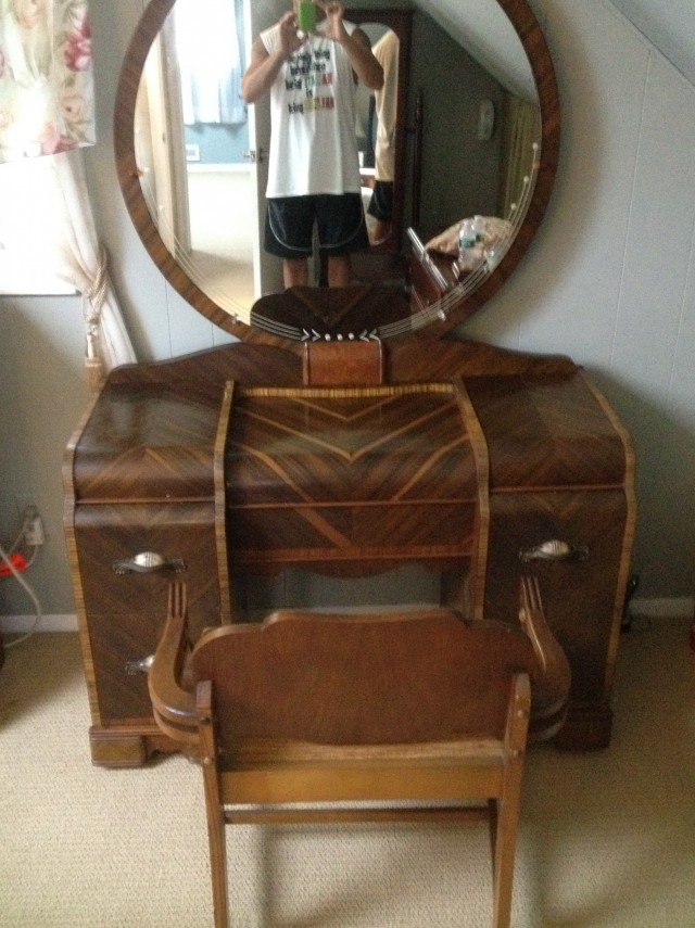 Antique Wood Vanity With Mirror Furniture Dressing Table