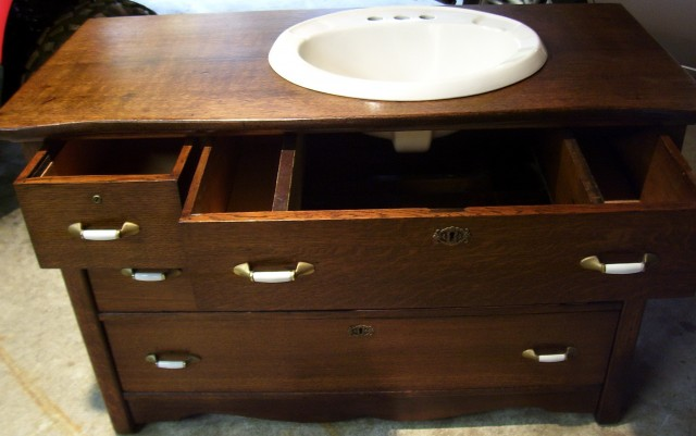Bathroom Vanities Made From Antique Dressers