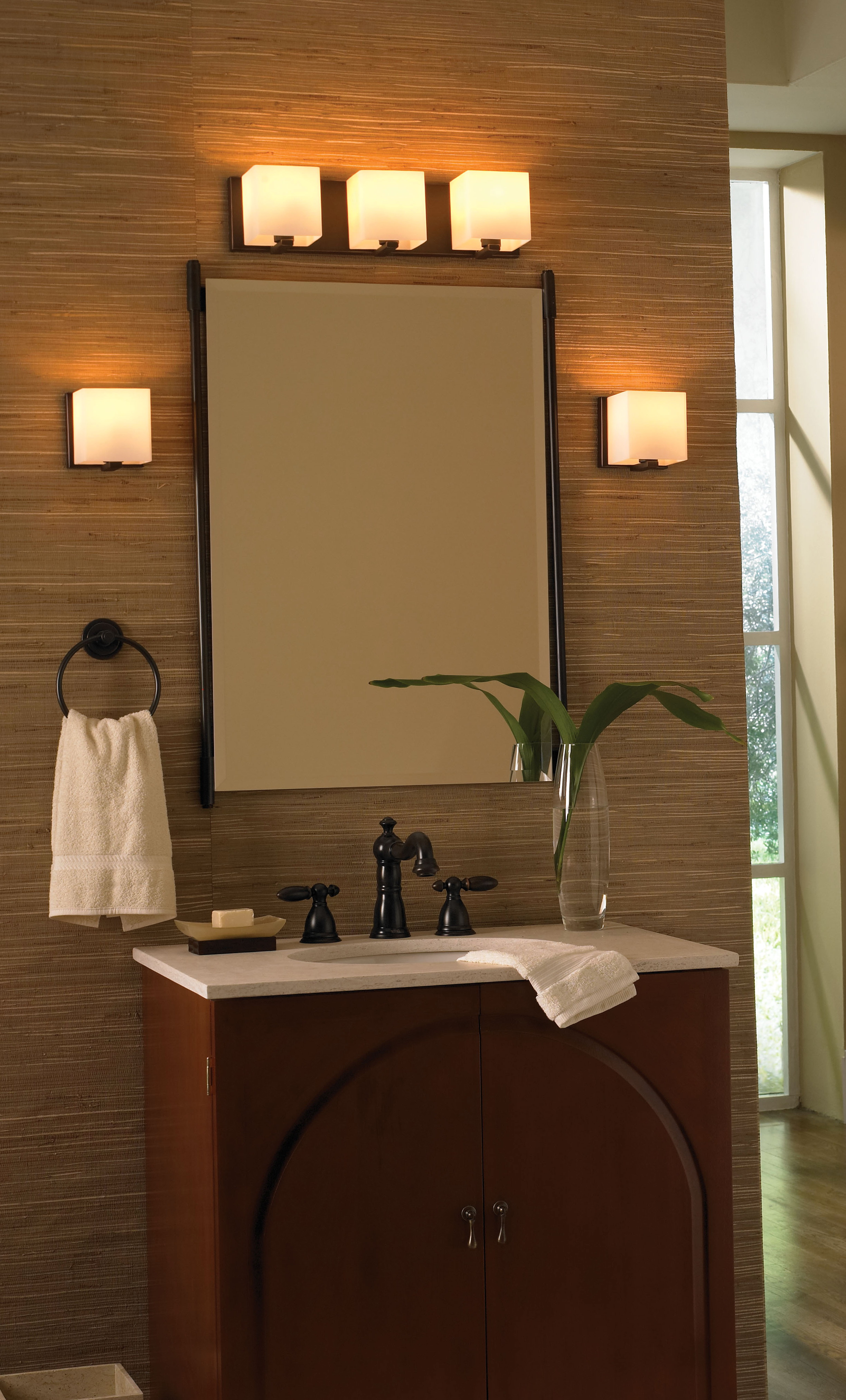 Bathroom vanity mirrors and lights
