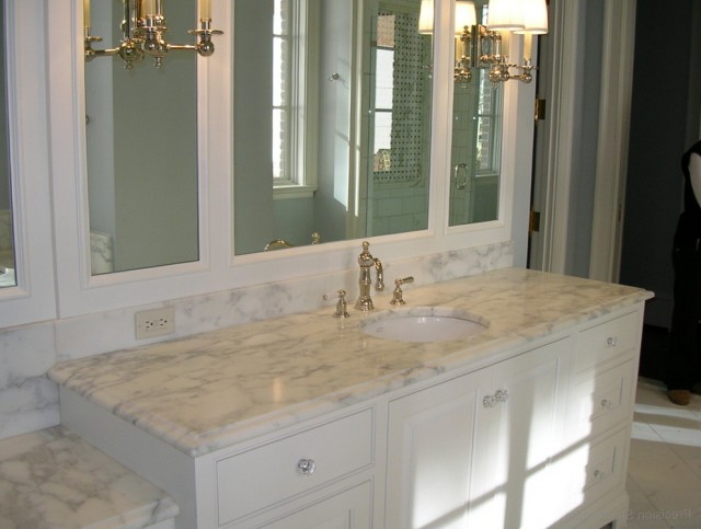 Bathroom Vanity White Marble Top
