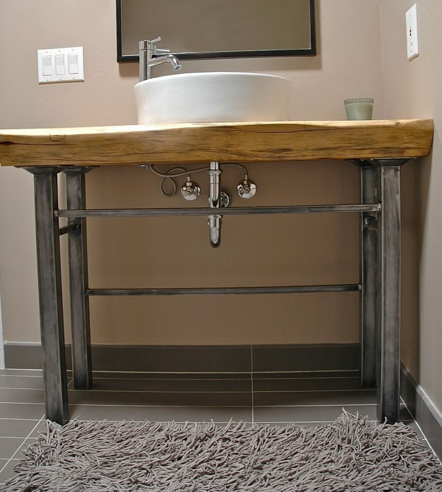 Wood And Metal Bathroom Vanity Home Design Ideas