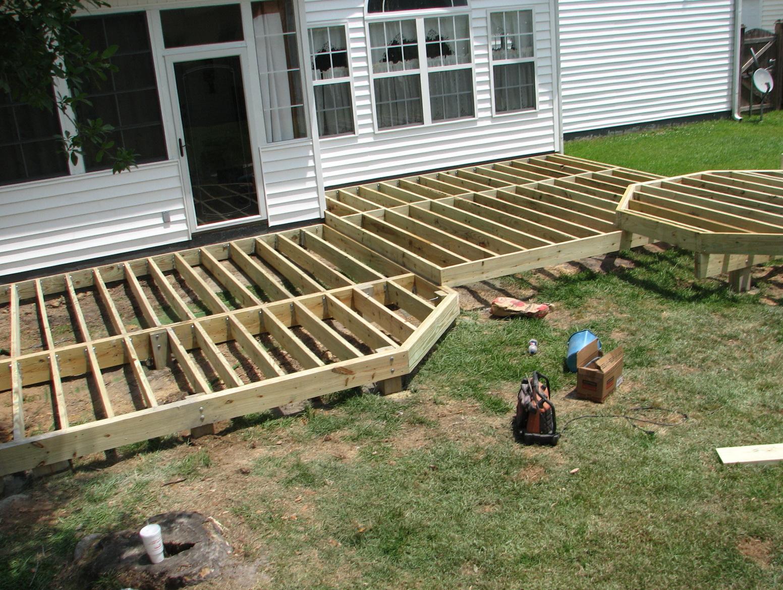 Framing a porch deck home design ideas for Porch deck plans