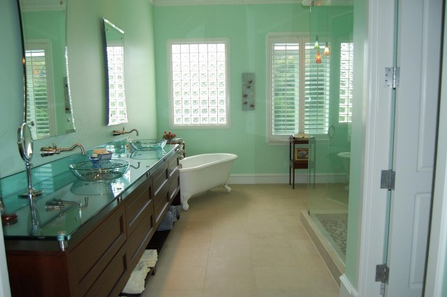 Green Glass Vanity Top