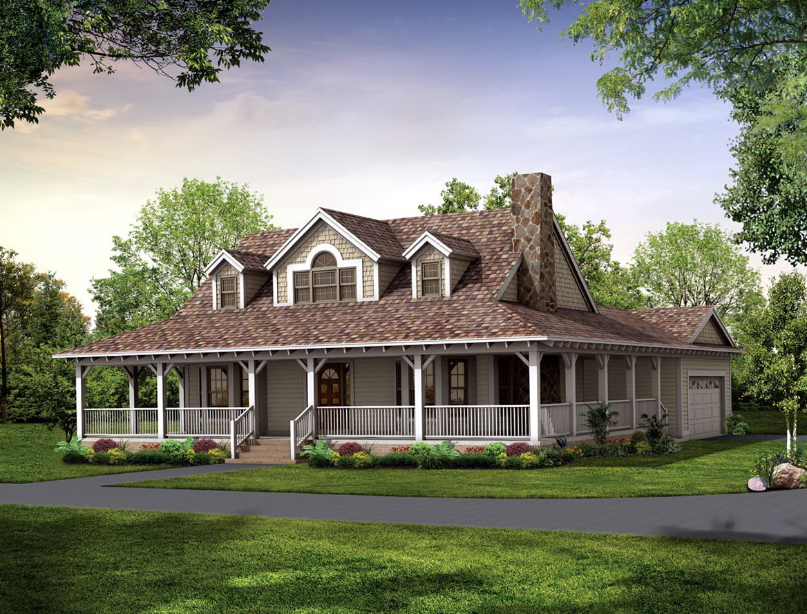 House plan with wrap around porch one floor home design for One level farmhouse plans